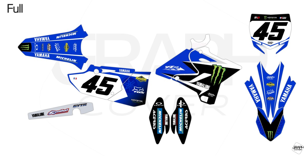 GRAPHIC KIT DIRT BIKE YAMAHA 250 YZ REPLICA JUSTIN BARCIA full