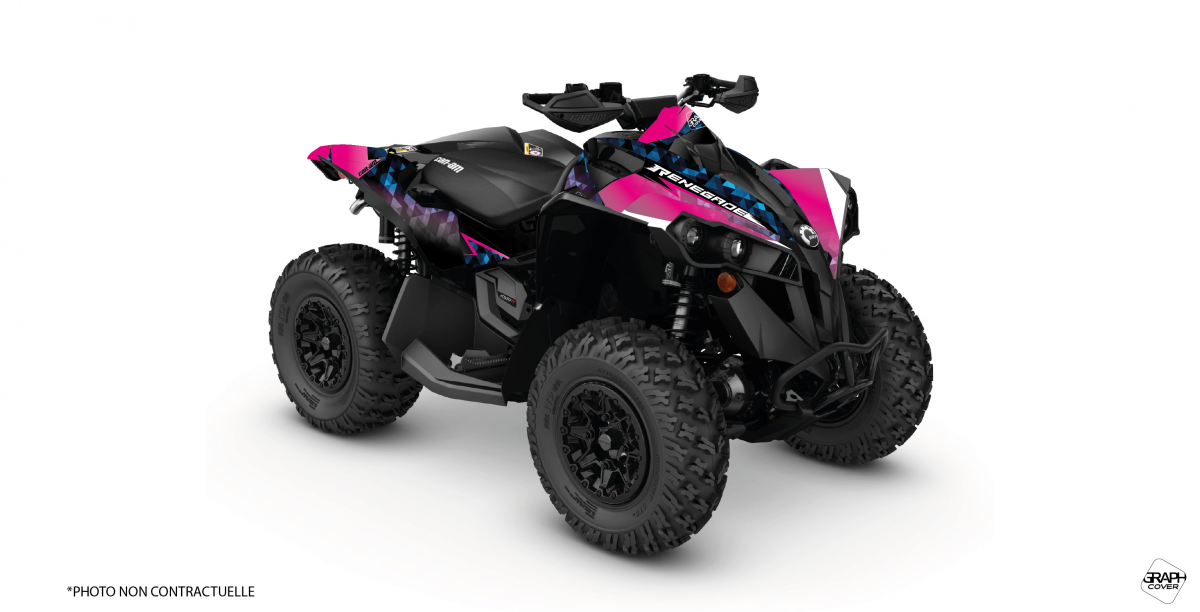 Can Am Renegade 800 >> Graphic Kit Atv Masai Can Am Renegade 800 Pink Blue Right Side