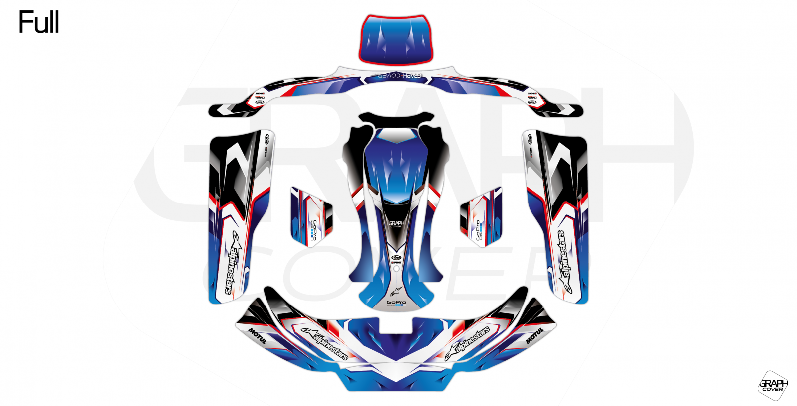 GRAPHIC KIT KARTING CRG NEW AGE 3 NURBURGRING BLUE full